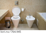 Купить «Интерьер ванной комнаты с туалетом и биде», фото № 764945, снято 5 сентября 2007 г. (c) Алексей Кузнецов / Фотобанк Лори