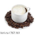 Купить «Чашка с горячим кофе с  кофейными  зернами», фото № 767161, снято 2 января 2009 г. (c) Vitas / Фотобанк Лори