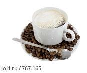 Купить «Чашка с горячим кофе с  кофейными  зернами», фото № 767165, снято 2 января 2009 г. (c) Vitas / Фотобанк Лори