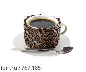 Купить «Оригинально декорированная чашка с горячим кофе. Изолировано от фона.», фото № 767185, снято 2 января 2009 г. (c) Vitas / Фотобанк Лори