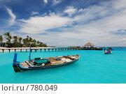 Купить «Пирс и рыбацкие лодки. Мальдивы», фото № 780049, снято 12 октября 2008 г. (c) Владимир Овчинников / Фотобанк Лори