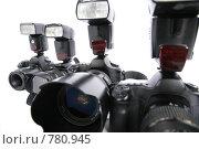 Купить «Фотокамеры со вспышками», фото № 780945, снято 20 января 2019 г. (c) Losevsky Pavel / Фотобанк Лори