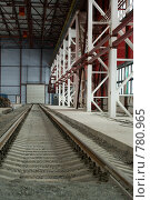 Купить «Железная дорога в цехе», фото № 780965, снято 19 февраля 2009 г. (c) Кекяляйнен Андрей / Фотобанк Лори