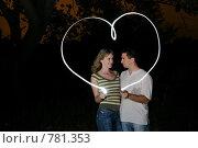 Купить «Парень и девушка рисуют сердце пальцем», фото № 781353, снято 30 августа 2008 г. (c) Арестов Андрей Павлович / Фотобанк Лори