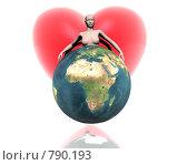 Девушка, земной шар и сердце. Стоковая иллюстрация, иллюстратор Alperium / Фотобанк Лори