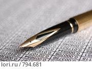 Купить «Перьевая ручка лежит на таблице с числами», фото № 794681, снято 28 августа 2008 г. (c) Петухов Геннадий / Фотобанк Лори