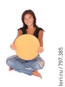 Купить «Счастливая девушка держит баннер для сообщения», фото № 797385, снято 29 августа 2007 г. (c) Vdovina Elena / Фотобанк Лори