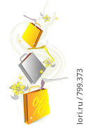 Иллюстрация. Шопинг-пакеты. Стоковая иллюстрация, иллюстратор Майя Мишина / Фотобанк Лори