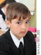 Купить «Первоклассник на уроке в школе», фото № 801305, снято 7 апреля 2009 г. (c) Федор Королевский / Фотобанк Лори