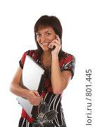 Купить «Девушка с ноутбуком и телефоном», фото № 801445, снято 7 июня 2007 г. (c) Харитонова Ольга / Фотобанк Лори