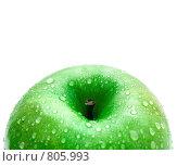 Зеленое яблоко на белом фоне с местом для текста. Стоковое фото, фотограф Ирина Рубанова / Фотобанк Лори
