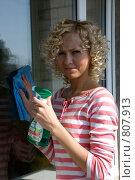 Купить «Девушка моет окно», фото № 807913, снято 14 апреля 2009 г. (c) Татьяна Дигурян / Фотобанк Лори