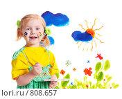 Купить «Девочка рисует красками», фото № 808657, снято 9 апреля 2009 г. (c) Майя Крученкова / Фотобанк Лори