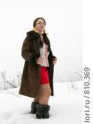 Купить «Девушка в дубленке и унтах», фото № 810369, снято 18 января 2009 г. (c) Яков Филимонов / Фотобанк Лори