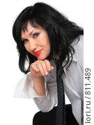 Купить «Улыбающаяся  брюнетка», фото № 811489, снято 23 мая 2019 г. (c) Losevsky Pavel / Фотобанк Лори