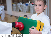 Купить «Мальчик тренируется в спортзале», фото № 812201, снято 22 декабря 2008 г. (c) Losevsky Pavel / Фотобанк Лори