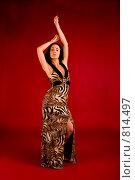 Купить «Танцующая брюнетка в длинном платье», фото № 814497, снято 25 февраля 2009 г. (c) Олег Тыщенко / Фотобанк Лори