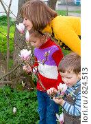 Семья в весеннем парке. Стоковое фото, фотограф Юрий Брыкайло / Фотобанк Лори