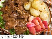 Купить «Мясо кусочками, в густом соусе, с гарниром», фото № 826109, снято 8 октября 2007 г. (c) Елена А / Фотобанк Лори