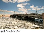Купить «Нева. Весна. Благовещенский мост. Санкт-Петербург», эксклюзивное фото № 826557, снято 21 апреля 2009 г. (c) Александр Алексеев / Фотобанк Лори