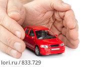 Купить «Модель автомобиля, оберегаемый мужскими руками, на белом фоне. Страхование транспортного средства», фото № 833729, снято 15 марта 2009 г. (c) Мельников Дмитрий / Фотобанк Лори