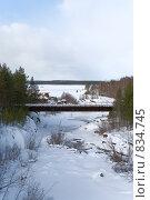 Купить «Дом на берегу реки и мост через реку. Зима», фото № 834745, снято 22 марта 2009 г. (c) Кекяляйнен Андрей / Фотобанк Лори