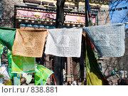 Купить «Флажки со священными буддистскими текстами и рисунками. Дацан. Санкт-Петербург», эксклюзивное фото № 838881, снято 26 апреля 2009 г. (c) Александр Щепин / Фотобанк Лори