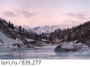 Купить «Закат на горной реке. Зима. Саяны», фото № 839277, снято 17 июля 2018 г. (c) Sergey Toronto / Фотобанк Лори