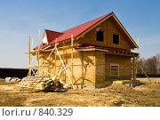 Купить «Строительство загородного дома», фото № 840329, снято 28 апреля 2009 г. (c) Миняева Ольга / Фотобанк Лори