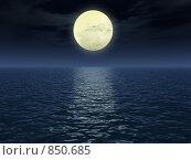 Купить «Лунная дорожка», иллюстрация № 850685 (c) Сергей Галушко / Фотобанк Лори