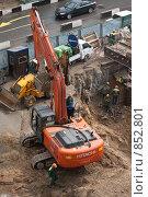 Экскаватор Hitachi на строительстве тоннеля (Ленинградка) (2009 год). Редакционное фото, фотограф Константин Мартынов / Фотобанк Лори