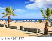 Купить «Городской пляж, Калейла ( Calella )», фото № 861177, снято 27 августа 2008 г. (c) Vitas / Фотобанк Лори