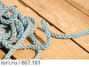 Купить «Веревка на деревянном полу», фото № 867181, снято 26 апреля 2009 г. (c) Андрей Ганночка / Фотобанк Лори
