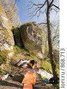 Туристский лагерь в лесу. Стоковое фото, фотограф Игорь Р / Фотобанк Лори