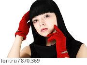 Девушка в красных перчатках. Стоковое фото, фотограф Maxim Shabashkin / Фотобанк Лори