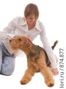 Купить «Девушка, играющая со своей собакой», фото № 874877, снято 30 января 2008 г. (c) Литова Наталья / Фотобанк Лори
