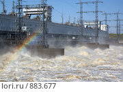 Камская ГЭС. Сброс воды (2009 год). Редакционное фото, фотограф Павел Спирин / Фотобанк Лори