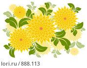 Купить «Иллюстрация, желтые цветы в векторном стиле», иллюстрация № 888113 (c) Александр Черезов / Фотобанк Лори