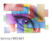 Купить «Коллаж с женским глазом», фото № 893661, снято 22 сентября 2018 г. (c) Михаил Лукьянов / Фотобанк Лори