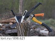Ножи и топоры. Стоковое фото, фотограф Виктор Мухин / Фотобанк Лори
