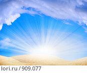 Купить «Сияющее небо над пустыней», фото № 909077, снято 17 июля 2019 г. (c) Андрей Бурдюков / Фотобанк Лори