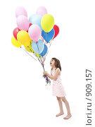 Купить «Девочка с букетом разноцветных воздушных шариков на белом фоне», фото № 909157, снято 1 июня 2009 г. (c) Лисовская Наталья / Фотобанк Лори