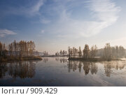 Купить «Осенний пейзаж. Восход солнца.», фото № 909429, снято 8 октября 2008 г. (c) Юрий Бельмесов / Фотобанк Лори