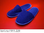 Синие тапки на красном фоне. Стоковое фото, фотограф Михаил Ковалев / Фотобанк Лори