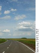 Пустынная автомобильная дорога, уходящая за горизонт. Стоковое фото, фотограф Gagara / Фотобанк Лори