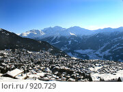 Купить «Вид с горы на город Вербье, Швейцария», фото № 920729, снято 29 декабря 2008 г. (c) Васильева Татьяна / Фотобанк Лори