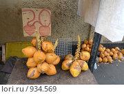 Креативный ценник  на кокосовые орехи. Стоковое фото, фотограф Андрей Рудаков / Фотобанк Лори
