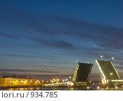 Купить «Дворцовый мост Санкт-Петербурга в белую ночь», фото № 934785, снято 12 июня 2009 г. (c) nikshor / Фотобанк Лори