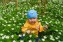 Маленькая девочка сидит в белых цветах, фото № 936253, снято 9 мая 2009 г. (c) Кекяляйнен Андрей / Фотобанк Лори