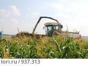 Купить «Трактор в поле собирает урожай», фото № 937313, снято 5 августа 2008 г. (c) Михаил Малышев / Фотобанк Лори